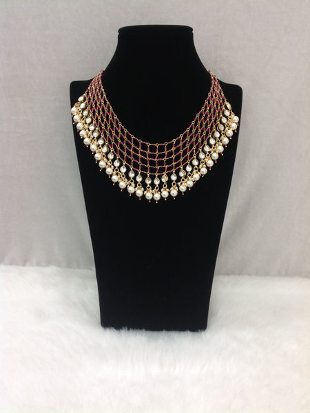Impressive Purple Gemstones With Golden Pearls Choker Necklace