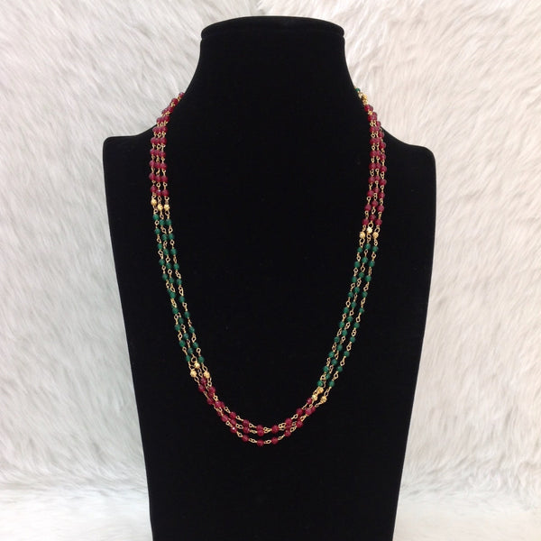 Maroon And Green Shades of Gemstones Necklace