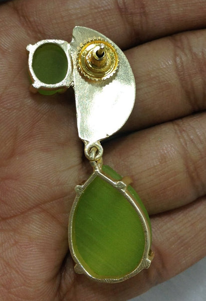 Chartreuse Yellow and Gold Gemstone Drop Earrings