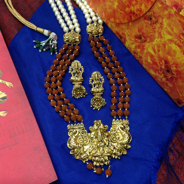 Rudraksh With Goddess Laxmi Pendant And Shell Pearl Necklace Set