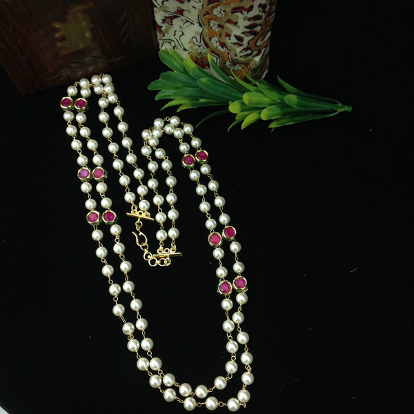 Significant Shell Pearls With Ruby Pink Gemstones Necklace