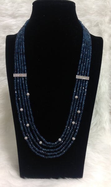 Navy Blue and White Necklace