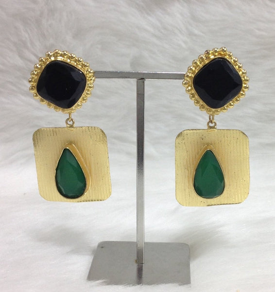 Glamourous Black Green Onyx Statement Earrings