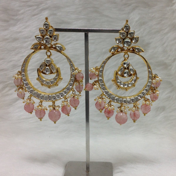 Rose Pink Kundan Delightful Earrings
