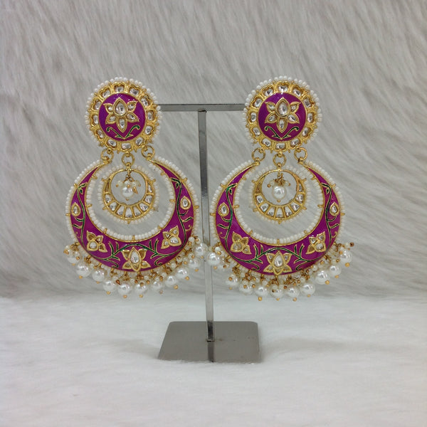 Orchid Purple Meenakari Kundan Pearl Earrings