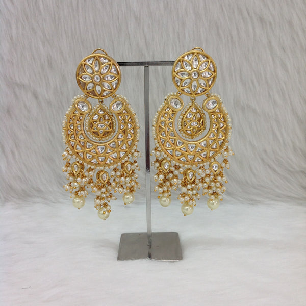 Golden Kundan Shell Pearl Earrings