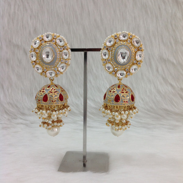 Glorious Grey Meenakari Kundan Pearl Earrings