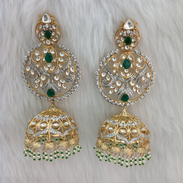 Emerald Green Kundan Crystal Long Jhumka Long Earrings