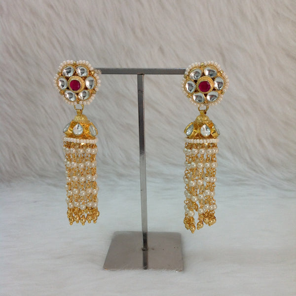 Gorgeous Golden Kundan Pearl Long Earrings