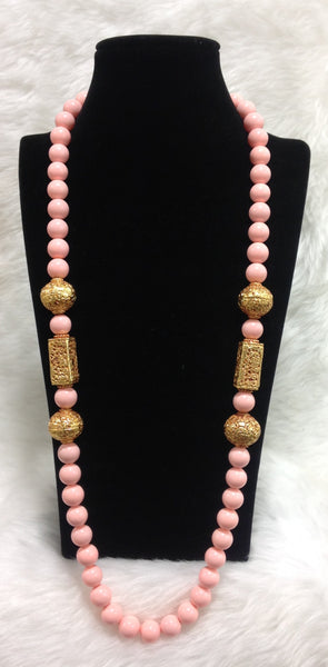 Coral Pink With Geru Necklace