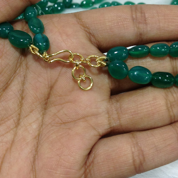 Golden Goddess Laxmi with Green Necklace