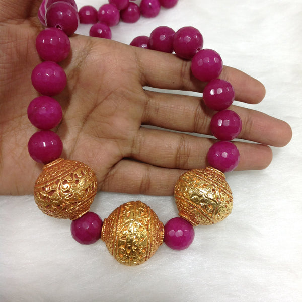 Pink And Geru Beads Necklace