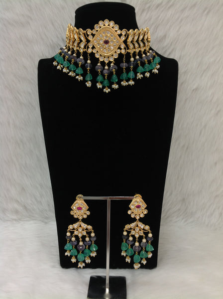 Gracious Fern Green Gemstones Kundan Choker Necklace Set