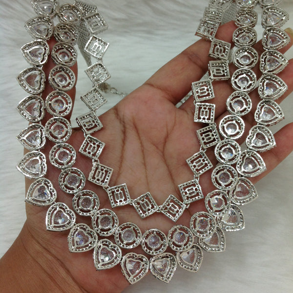 3 Stranded Clear Crystal Necklace Set