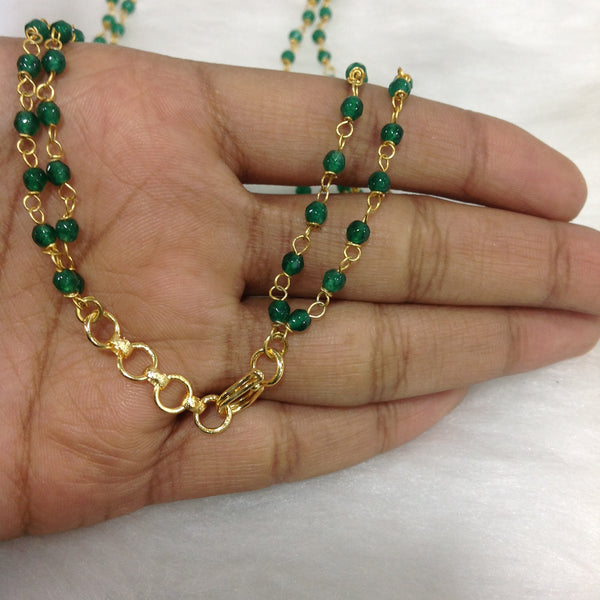 Green Seeds Inbibed in Gold Necklace