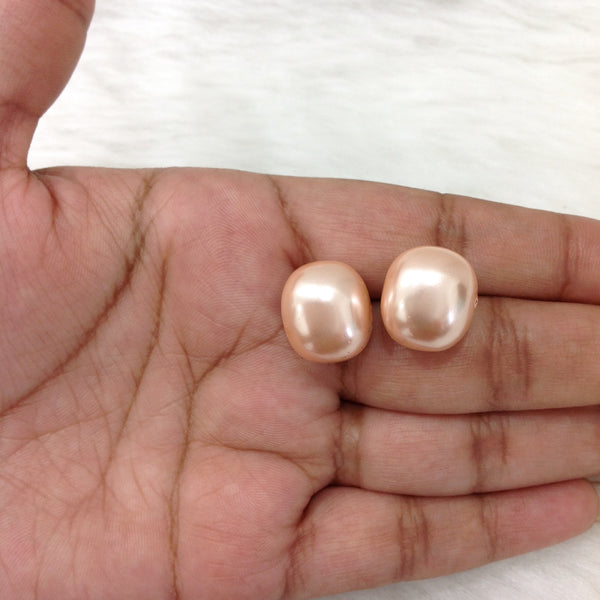 Peach Pearl Stud Earrings