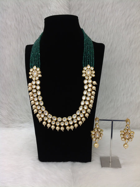 Ethnic Five Stranded Emerald Green Kundan Necklace Set