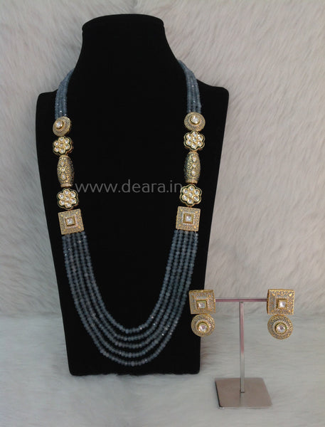 Glorious Grey Gemstones and Kundan Meenakari Necklace Set