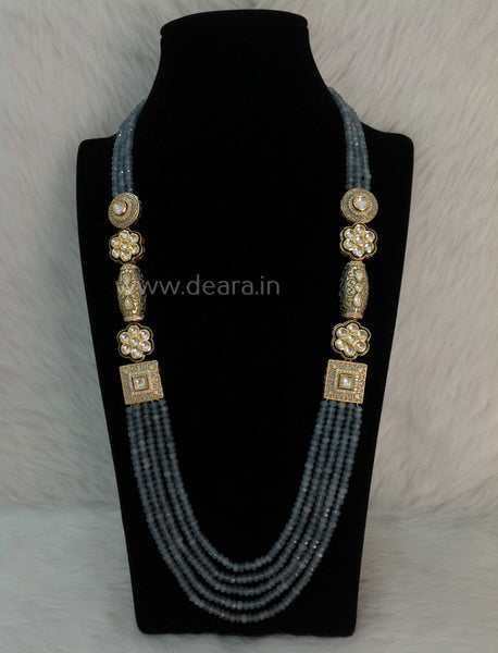 Glorious Blue Grey Gemstones and Kundan Meenakari Necklace Set