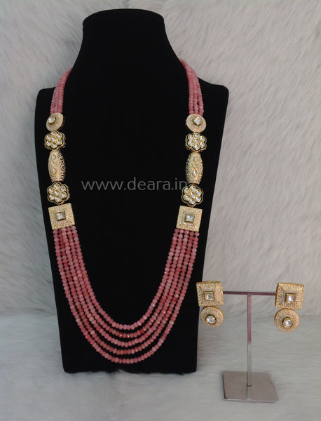 Charming Coral Pink Gemstones and Kundan Meenakari Necklace Set