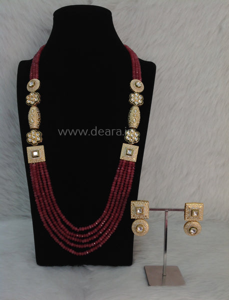 Radiant Ruby Pink Gemstones and Kundan Meenakari Necklace Set