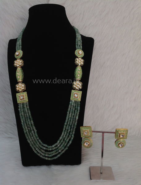 Glamorous Green Gemstones and Kundan Meenakari Necklace Set