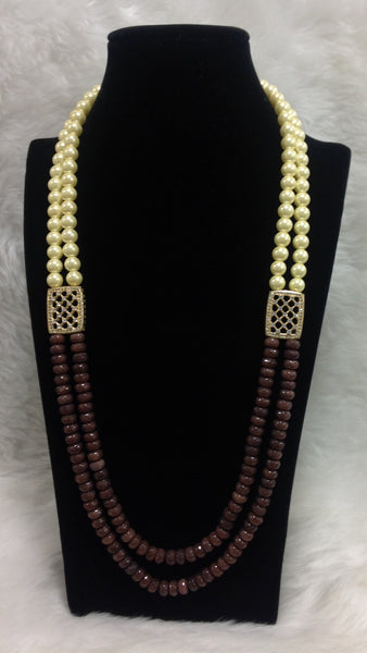 Trunk Brown & Golden Shell Pearls Necklace