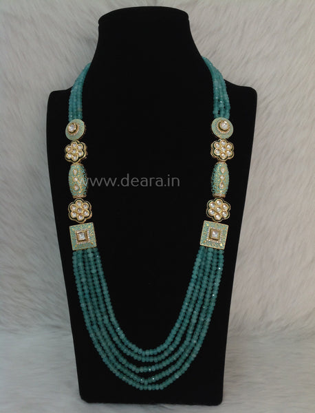 Splendid Seafoam Green Gemstones and Kundan Meenakari Necklace Set