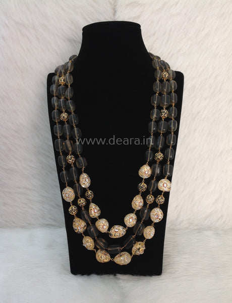 Blushing Coffee Brown Gemstones and Crystal Kundan Meenakari Necklace
