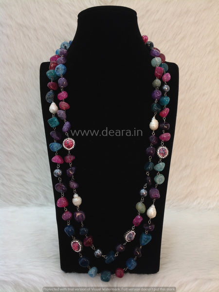 Multicolor Gemstones and Baroque pearl Necklace
