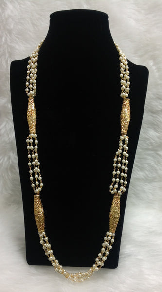 Ethnic Pearl Ganthan with Carved Geru Beads