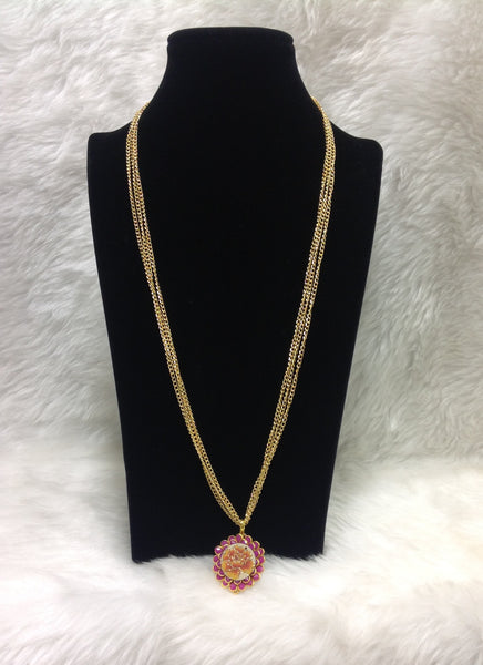 Floweret Pendant With Golden Chain Necklace