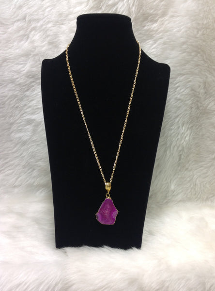 Pink Lava Druzy Pendant Necklace