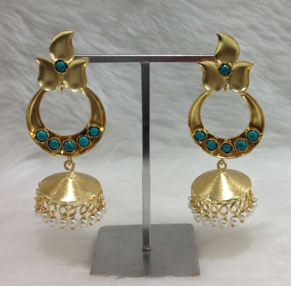 Turquoise Blossom Leafy Jhumka Earrings