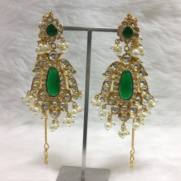 Enamour Emerald Green & Pearl Earrings