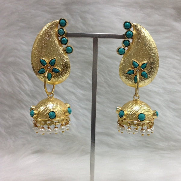Turquoise Dangler Gold Jhumka Earrings
