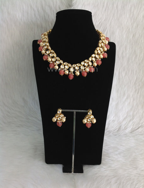 Ornamental Kundan and Pastel Red Choker Necklace Set