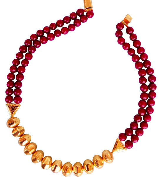 Timeless Glamour in Maroon and Gold Necklace