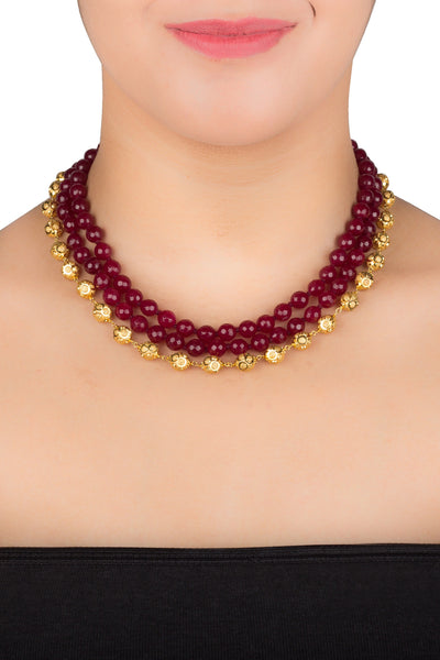 Ethnic Essence in Maroon and Gold Choker Necklace