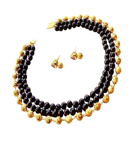 Royal Elegance in Black and Gold Choker Necklace