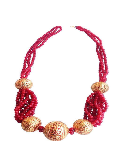 Temple Allure in Red Necklace