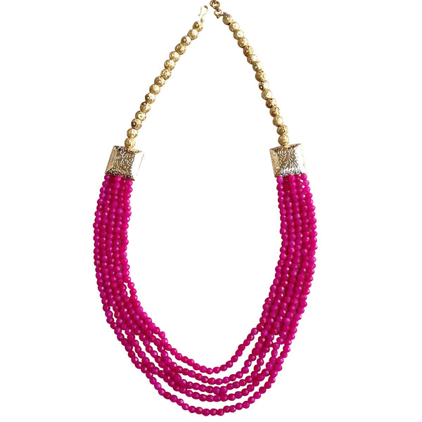 Electric Pink and Gold Necklace [product_color]- Deara Fashion Accessories
