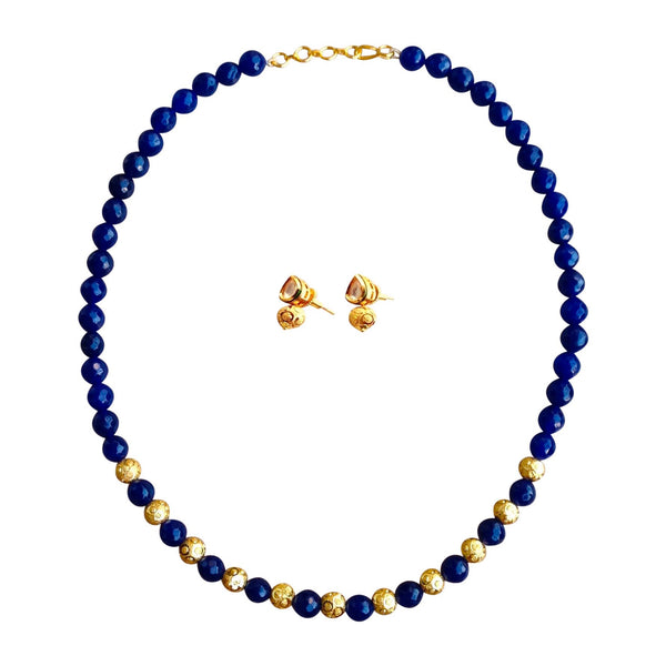 Blue Gold Waterfall Necklace