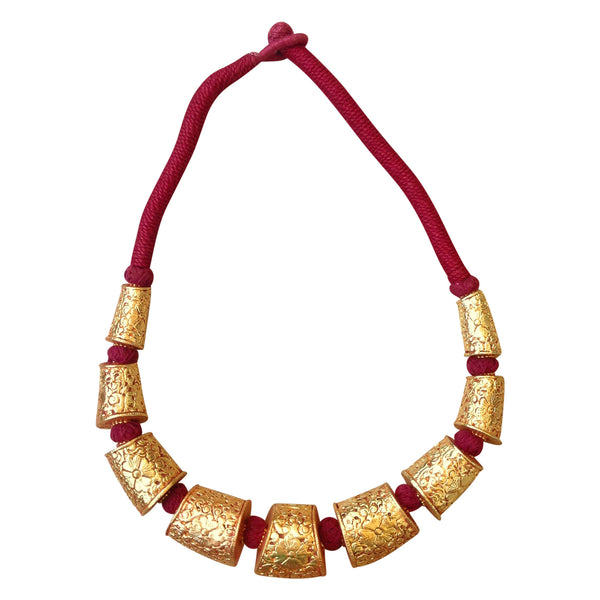 Bright Charm in Maroon and Gold Necklace [product_color]- Deara Fashion Accessories