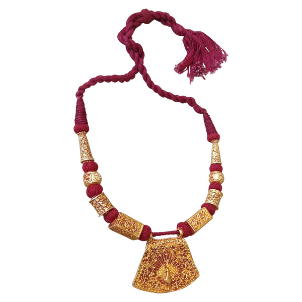 Maroon Rope Peacock Necklace [product_color]- Deara Fashion Accessories