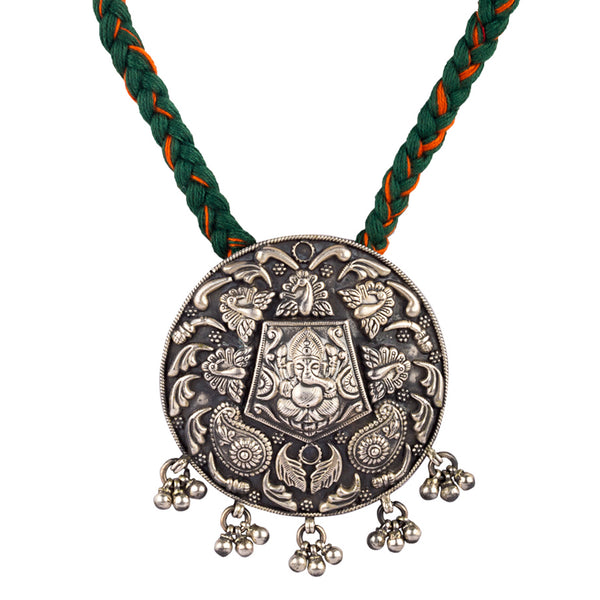 Ganesha Black Overlay Medallion Necklace