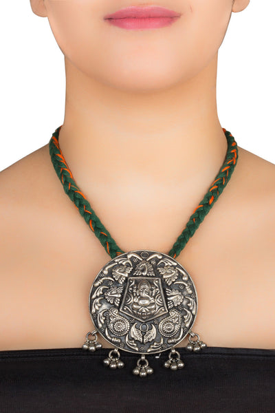 Ganesha Black Overlay Medallion Temple Necklace