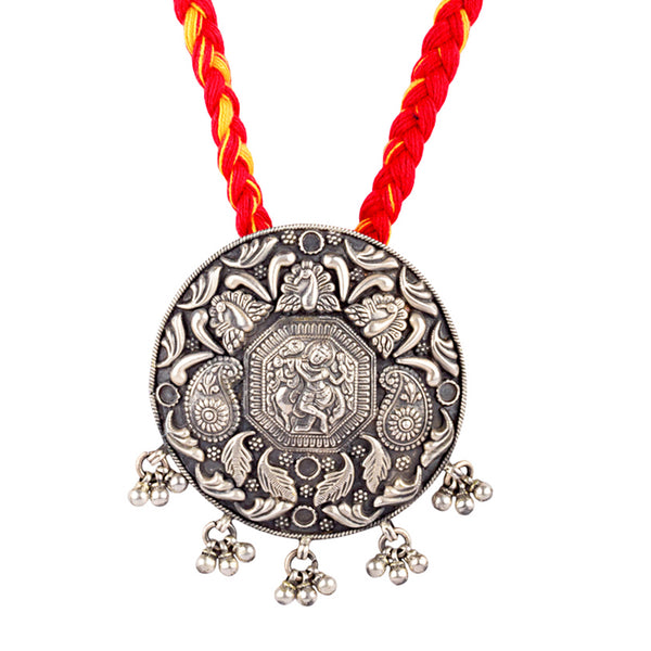 Divine Silver Krishna Temple Necklace