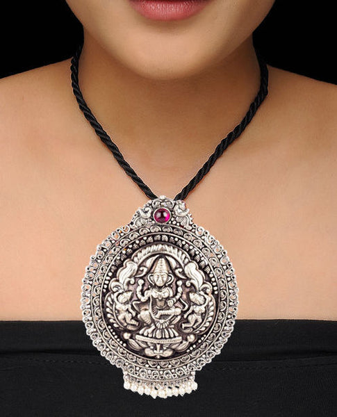 Centric Gemstone Encrusted Divine Laxmi Motif Pendant Drop Temple Necklace