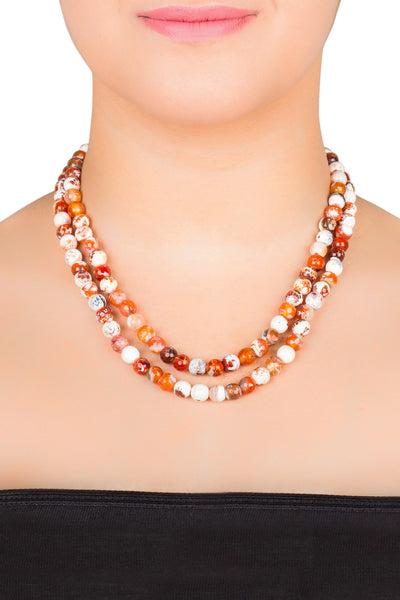 Frosty Bead Double String Necklace